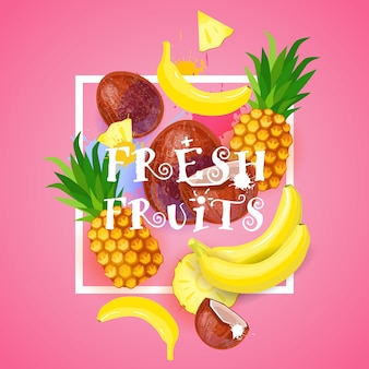 Ilustração de frutas frescas com abacaxi e banana conceito de comida saudável orgânica