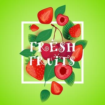Ilustração de frutas frescas com morango e cereja conceito de frutas saudáveis orgânicas