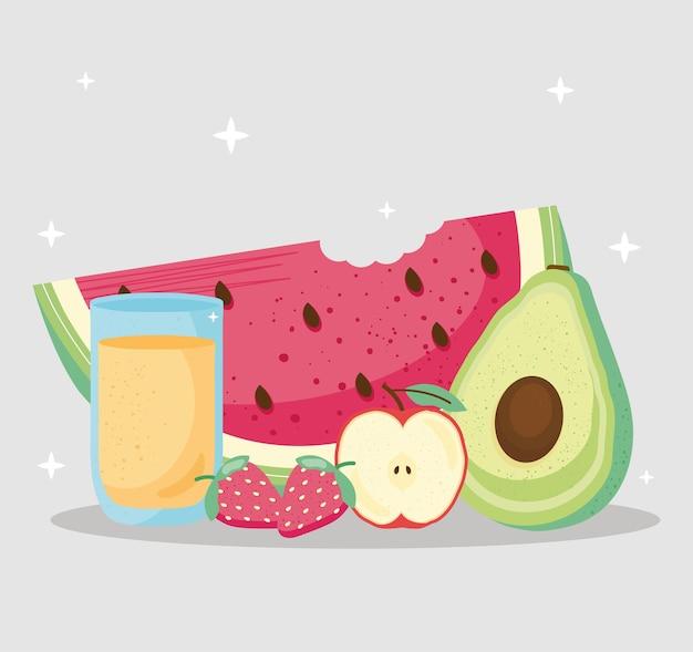 Ilustração de frutas frescas e deliciosas e sucos