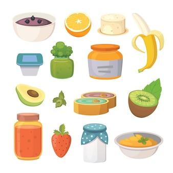 Ilustração de frutas orgânicas geléia e smoothie.