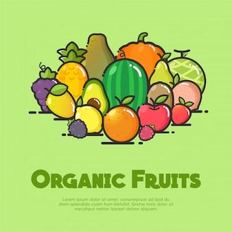 Ilustração de frutas orgânicas