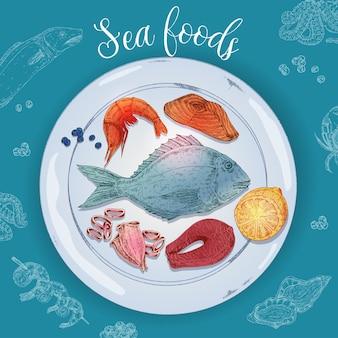 Ilustração de frutos do mar desenhados à mão