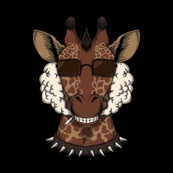 Ilustração de fumaça cabeça de girafa