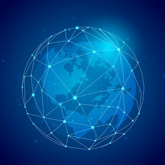 Ilustração de fundo azul de conexão em todo o mundo