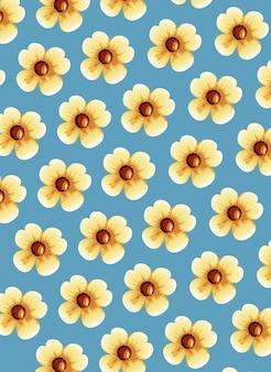 Ilustração de fundo bonito com flores amarelas