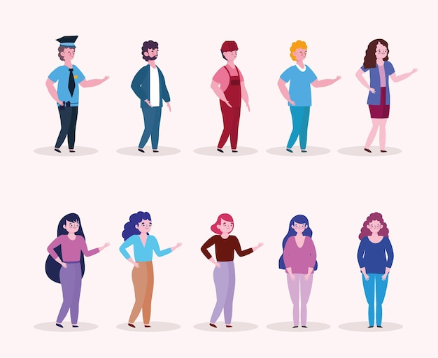 Ilustração de fundo branco de personagens de grupos diferentes de pessoas, trabalhador, buinessman, mulheres e homens