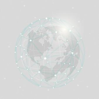 Ilustração de fundo cinza de conexão em todo o mundo