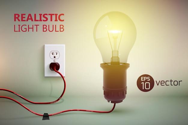 Ilustração de fundo com lâmpada de filamento brilhante realista no fio conectado à lâmpada e tomada elétrica na parede gradiente