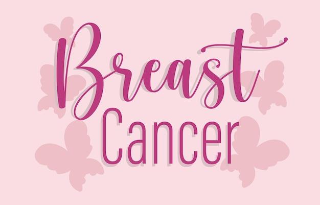 Ilustração de fundo com letras de borboletas rosa para conscientização do câncer de mama