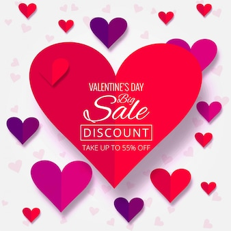 Ilustração de fundo da venda do dia dos namorados dos corações bonitos
