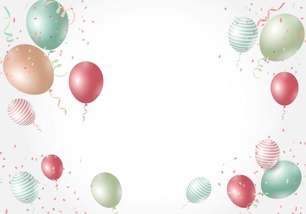 Ilustração de fundo de balões brilhantes de cor