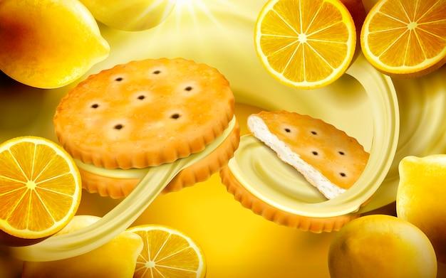 Ilustração de fundo de biscoitos de sanduíche de limão