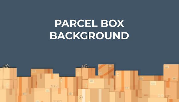Ilustração de fundo de caixa de pacote de pedidos de mercadorias pela internet