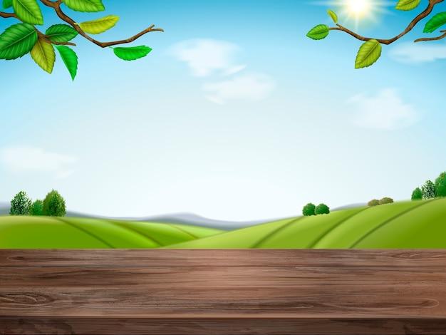 Ilustração de fundo de campo verde natural