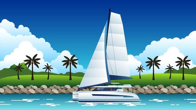Ilustração de fundo de catamarã navegando ao longo da costa