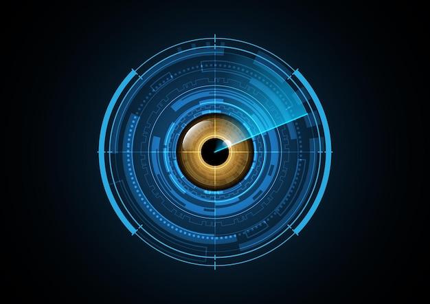 Ilustração de fundo de círculo de radar de olho futuro abstrato de tecnologia