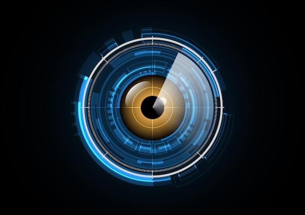 Ilustração de fundo de círculo de segurança de radar de olho futuro abstrato de tecnologia