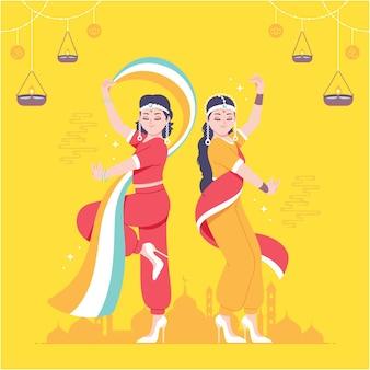 Ilustração de fundo de dança indiana tradicional