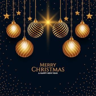 Ilustração de fundo de feliz natal com bolas douradas