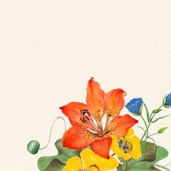 Ilustração de fundo de flor colorida com espaço de design, remixada de obras de arte de domínio público