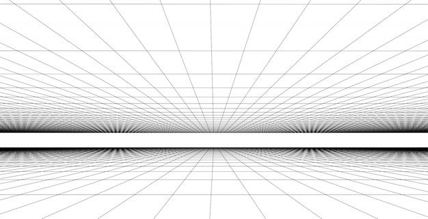 Ilustração de fundo de grade de perspectiva, conceito de conexão de rede