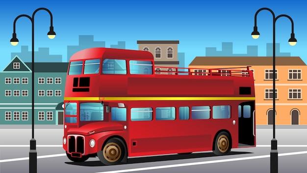 Ilustração de fundo de ônibus vintage de dois andares