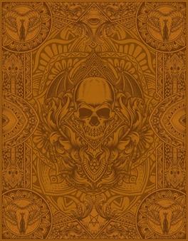 Ilustração de fundo de ornamento de mandala antiga