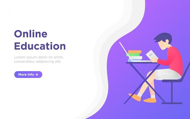 Ilustração de fundo de página de aterragem de educação on-line