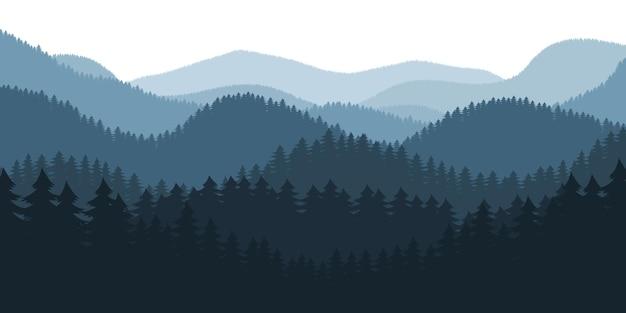 Ilustração de fundo de paisagem de floresta