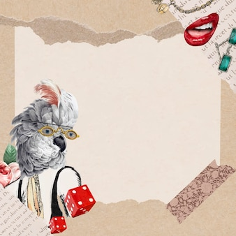 Ilustração de fundo de papel de parede de moldura de colagem vintage, arte de mídia mista de vetor