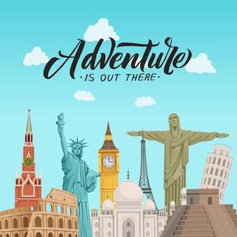 Ilustração de fundo de pontos turísticos do mundo com lugar para texto