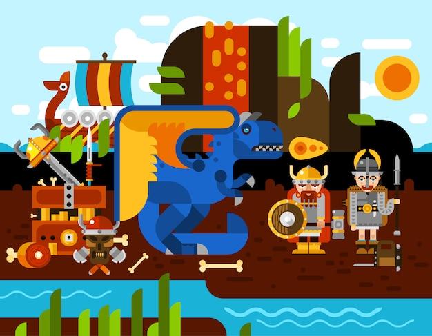 Ilustração de fundo de viking