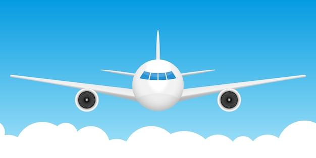 Ilustração de fundo do avião vista frontal