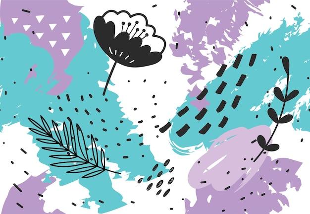 Ilustração de fundo floral abstrato desenhada à mão
