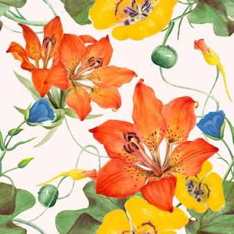 Ilustração de fundo floral sem costura, remixada de obras de arte de domínio público