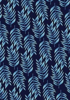 Ilustração de fundo padrão tropical de folhas azuis