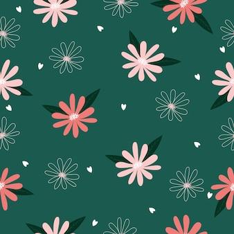 Ilustração de fundo sem costura bonito mão desenhada vintage padrão floral para design