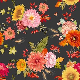 Ilustração de fundo sem emenda de flores em aquarela de outono, padrão de ação de graças de outono em vetor floral retrô para feriados, tecido da moda, têxteis, papel de parede com frutas, hortênsia, girassol, folhas