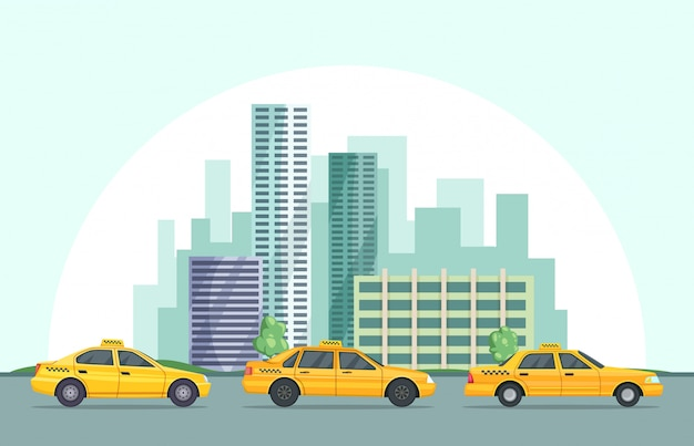 Ilustração de fundo vector da paisagem urbana moderna com diferentes edifícios e carros de táxi