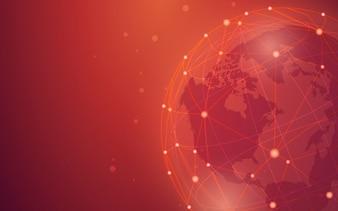 Ilustração de fundo vermelho de conexão em todo o mundo