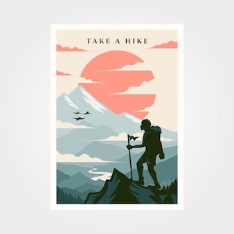 Ilustração de fundo vintage de cartaz de viagens de aventura