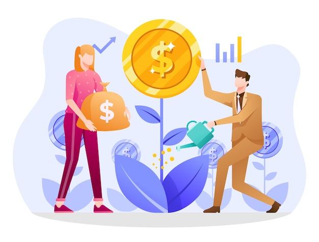 Ilustração de fundos mútuos, pessoas se juntando para fazer investimento.