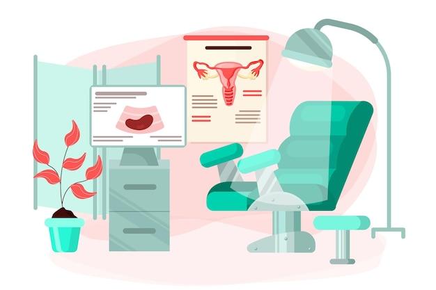 Ilustração de gabinete de ginecologia de design plano