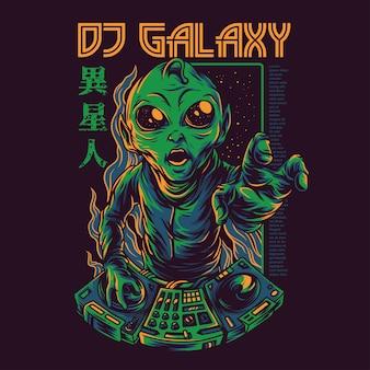 Ilustração de galáxia de dj