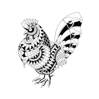 Ilustração de galinha, zentangle de mandala e design de tshirt