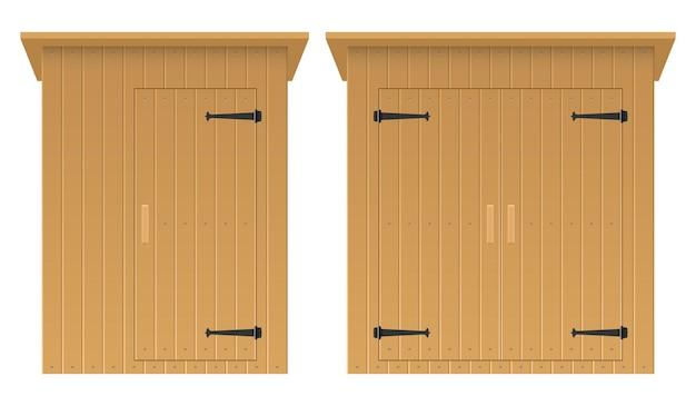 Ilustração de galpão de madeira isolada no fundo branco