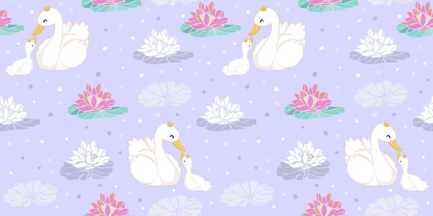 Ilustração de ganso fofo no padrão sem emenda