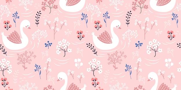 Ilustração de ganso rosa em padrão sem emenda