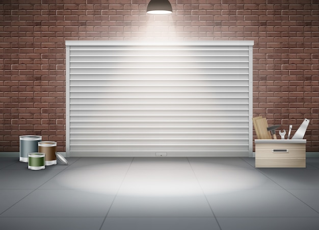 Ilustração de garagem fechada para carro ou armazenamento com lâmpada acesa de parede de tijolo marrom. composição realista de ferramentas de construção e pintura perto do obturador