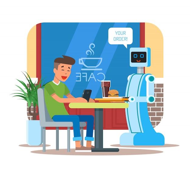 Ilustração de garçom robô servindo cola, hambúrguer ao visitante